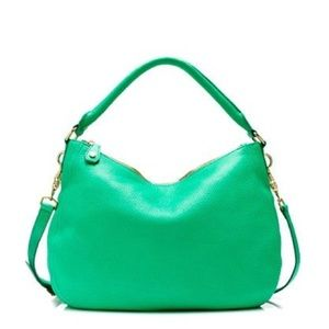 J Crew Pebbled Leather Green Biennial Hobo Bag